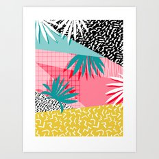 Bingo - throwback retro memphis neon tropical socal desert festival trendy hipster pattern pop art  Art Print