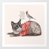 Snowshoes & Littlebird Art Print