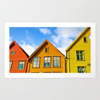 Norwegian houses. Scandinavia. Art Print