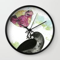 The Crow And The Flower Wall Clock