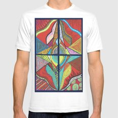 Red Pattern  White SMALL Mens Fitted Tee