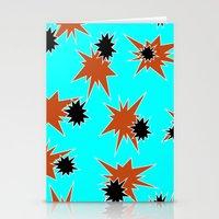 Stars (Orange & Black on Blue) Stationery Cards