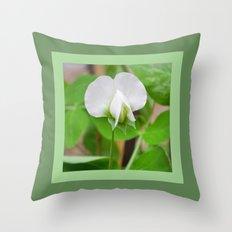 White Pea Blossom Throw Pillow