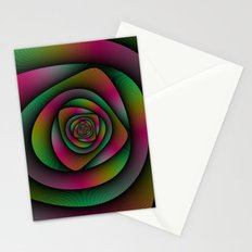 Spiral Labyrinth in Green Pink and Purple Stationery Cards