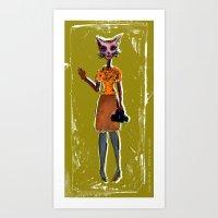 The Cat Say's, Hi! Art Print