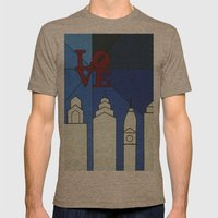Blue LOVE Shine Mens Fitted Tee Tri-Coffee SMALL