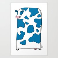 Blue Cow Art Print