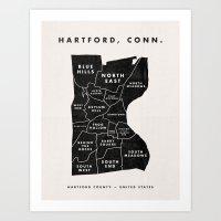 Hartford Map Art Print