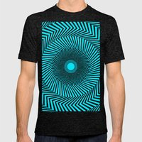 Circular Optical Illusion Mens Fitted Tee Tri-Black SMALL