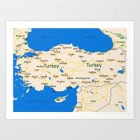 Turkey Map Design Art Print