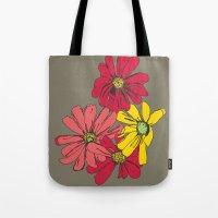 Grey Flowers Tote Bag