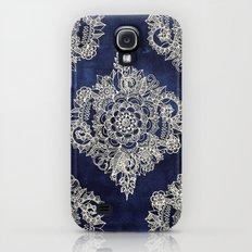 Cream Floral Moroccan Pattern on Deep Indigo Ink Galaxy S4 Slim Case
