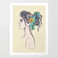 Doodle Hair Art Print
