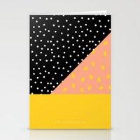 Peach Fuzz Black Polka D… Stationery Cards