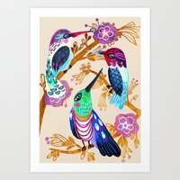 Hummingbird Floral Song Art Print