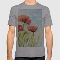 Red Poppies Watercolor  Mens Fitted Tee Athletic Grey SMALL
