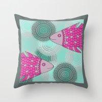 Indian Fish Throw Pillow