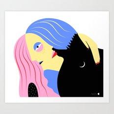 Hugging Couple Art Print
