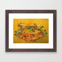 Flying cows rodeo Framed Art Print