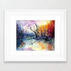 Sunset In The Forest Framed Art Print
