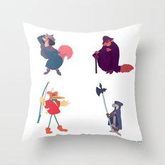 The many disguises of Robin Hood Throw Pillow