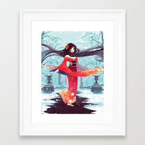 A walk in the asian winter Framed Art Print