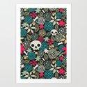 Skulls and flowers. Art Print