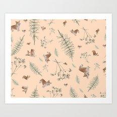 pale pink holiday corgi Art Print
