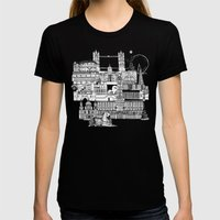 London Toile Black White Womens Fitted Tee Black SMALL