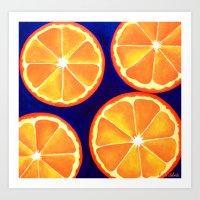 Orange Slice Painting Refreshing Vibrant POP ART Art Print