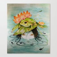 The Girl Who Kisses Frogs Canvas Print