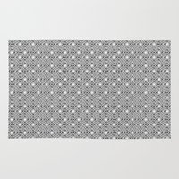 Black and White Broken Diamond Swirl Pattern Rug