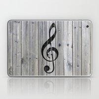 Vintage black music note Treble Clef gray wood Laptop & iPad Skin