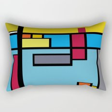 Little things abstract - Red, Blue, Yellow and Gray Rectangular Pillow