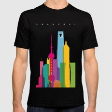 Shapes of Shanghai. Accurate to scale Black SMALL Mens Fitted Tee