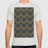 Diamond Art Deco; - Blac… Mens Fitted Tee Silver SMALL