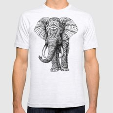 Ornate Elephant Mens Fitted Tee Ash Grey SMALL