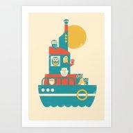 Art Print featuring Owl Aboard by Jay Fleck