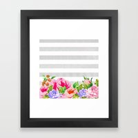 FLORAL GRAY STRIPES Framed Art Print