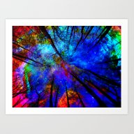 Art Print featuring Colorful Forest by Haroulita