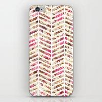 Pink Vintage Floral Girly Chevron Zig Zag Pattern iPhone & iPod Skin