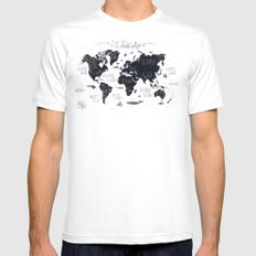 The World Map SMALL Mens Fitted Tee White