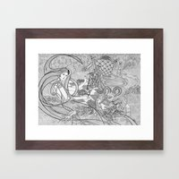 Chess Game / Original A4 Illustration / Pen & Ink Framed Art Print