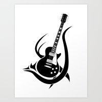 Tribal Guitar Art Print