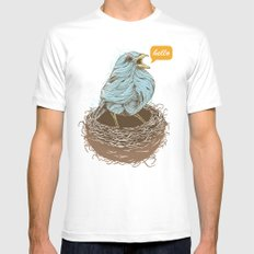 Twisty Bird Mens Fitted Tee White SMALL
