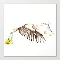 Baby on Bird Canvas Print