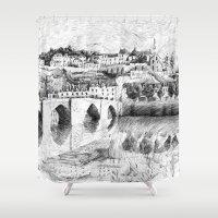 Terrasson village - Black ink Shower Curtain