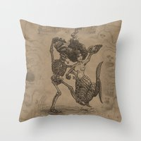 Dancing Mermaid and Skeleton Throw Pillow