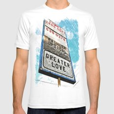 Greater Love SMALL White Mens Fitted Tee