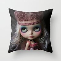 Pink Custom Blythe Darling Diva Art Doll Throw Pillow